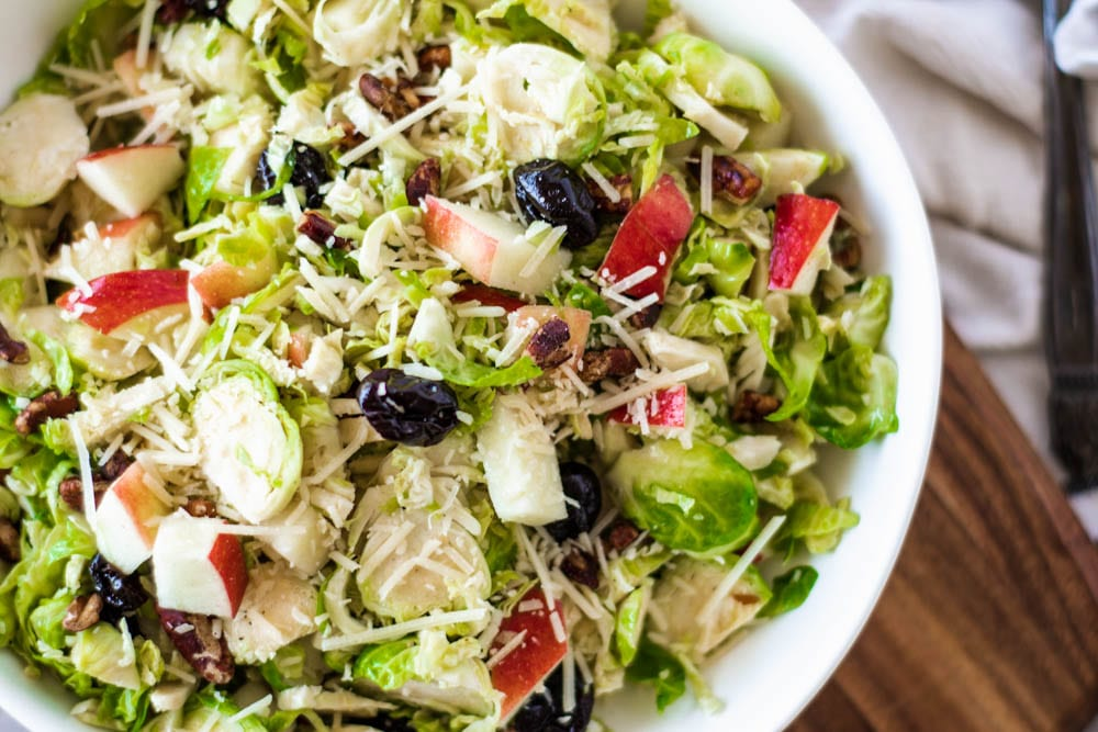 Up Close Photo of Shredded Brussel Sprout Salad