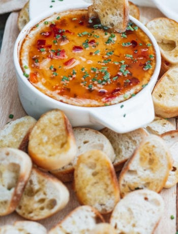 Angled photo of Baked Goat Cheese Dip with Pepper Jelly