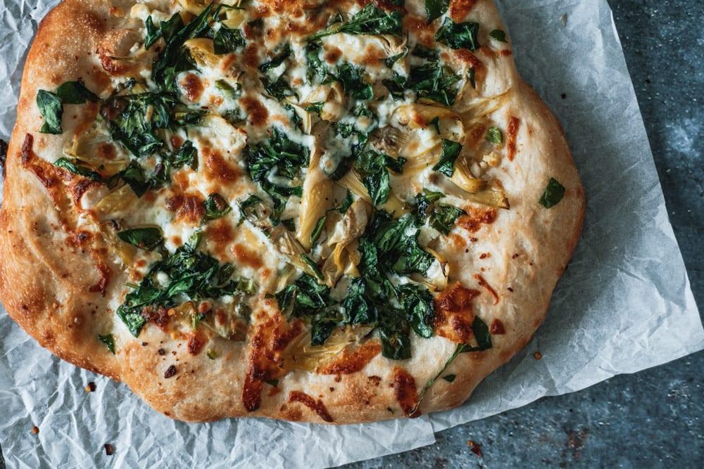 Whole Spinach Artichoke Sheet pan Pizza